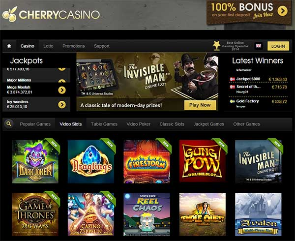 cherry casino support