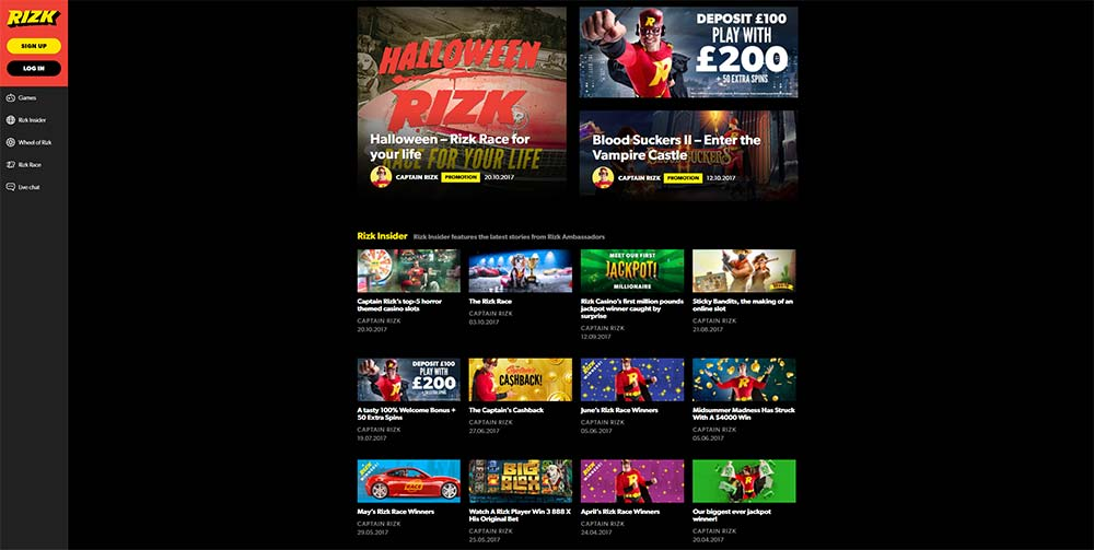 Rizk Casino Promotions Section