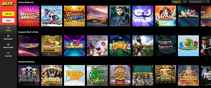 Rizk Casino Slot Selection