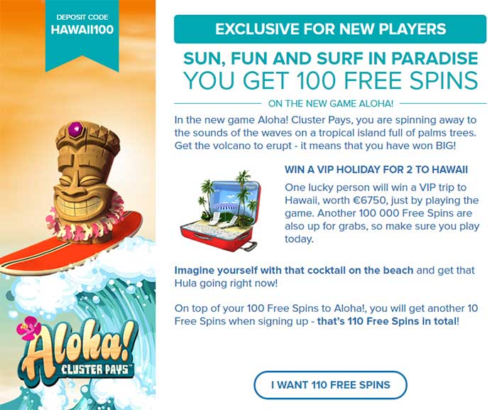 Aloha Cluster Pays Free Spins Code