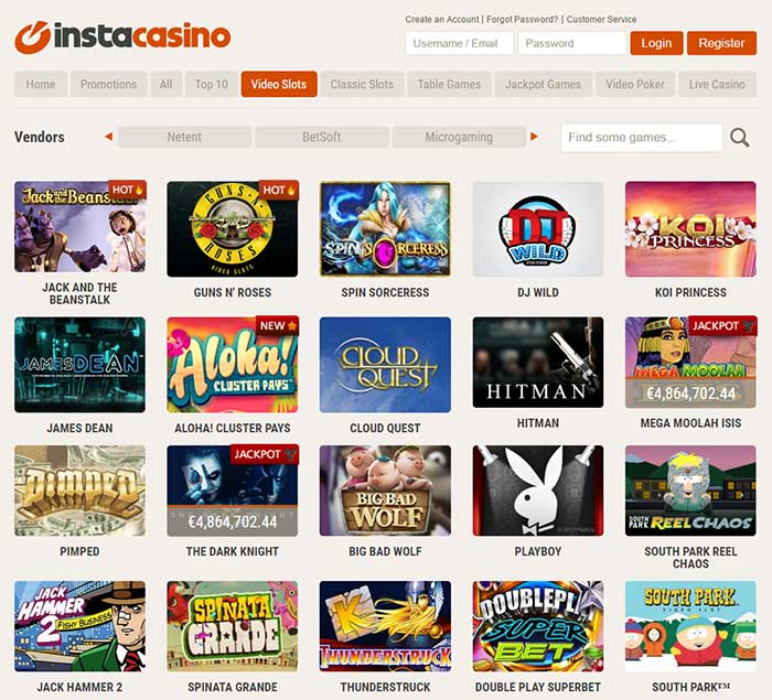 InstaCasino Online Slot Selection