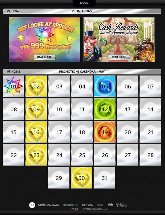 Spinson Casino free spins offers