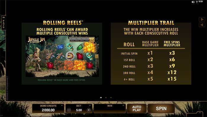 Jungle Jim Slot paytable