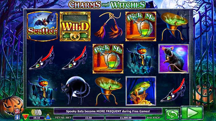 Charms and Witches Slot base game