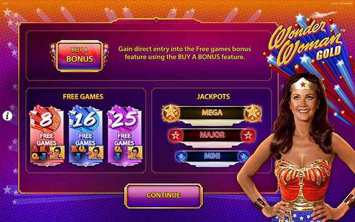 Wonder Woman Gold Slot Intro Screen