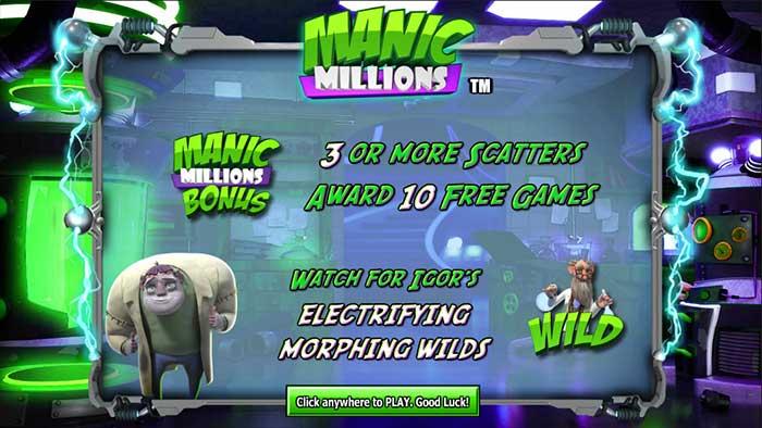 Manic Millions Slot intro screen