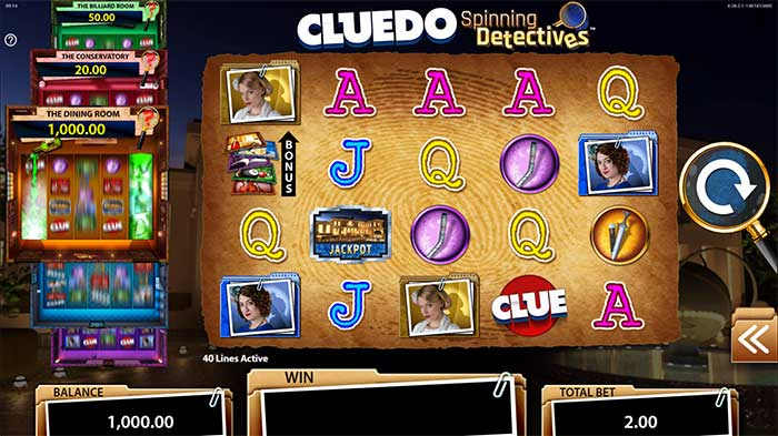 Cluedo Spinning Detectives Slot base game