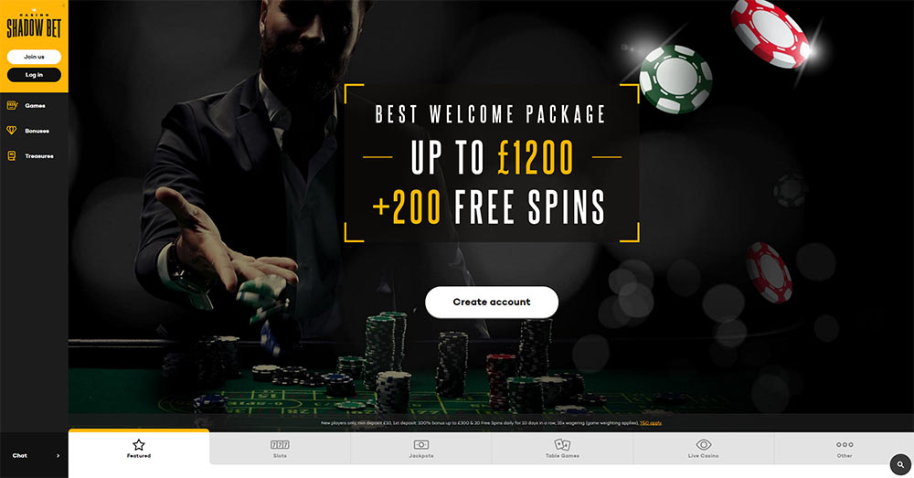 Shadow Bet Casino Home Page 2017