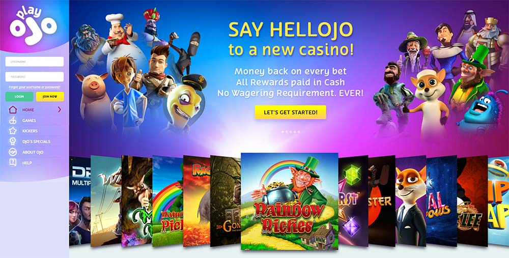 PlayOJO Casino Home Page