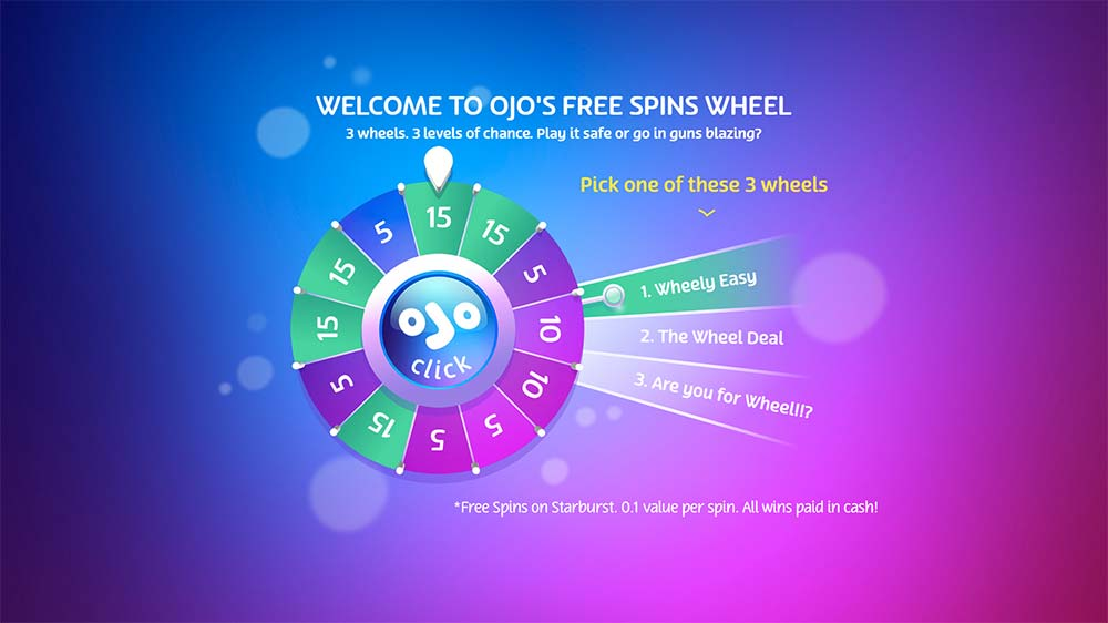 PlayOJO Casino Free Spins Wheel Feature