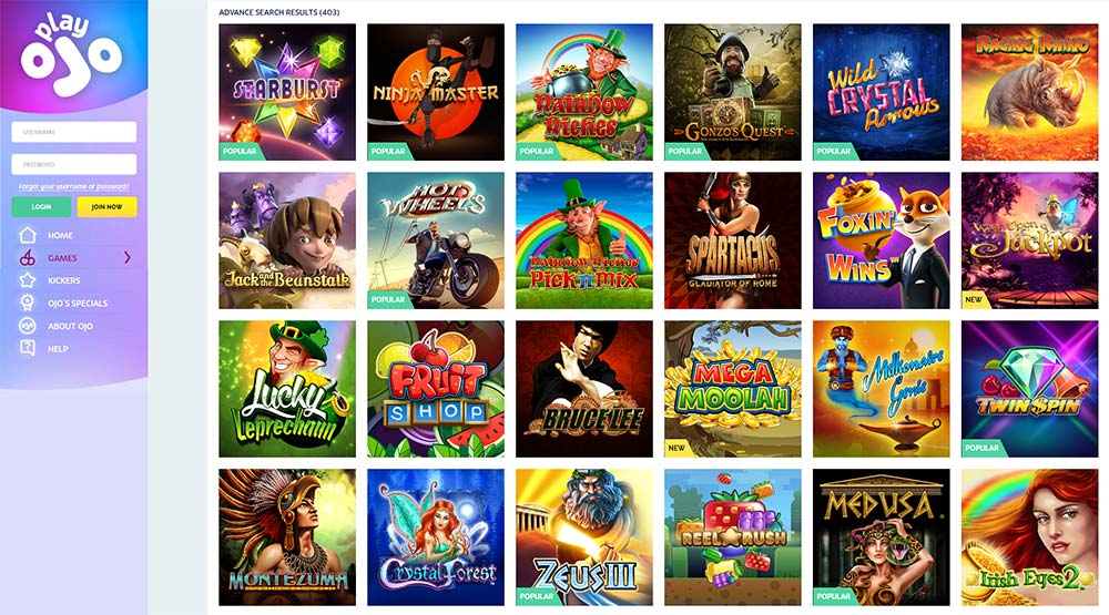 PlayOJO Casino range of online slots