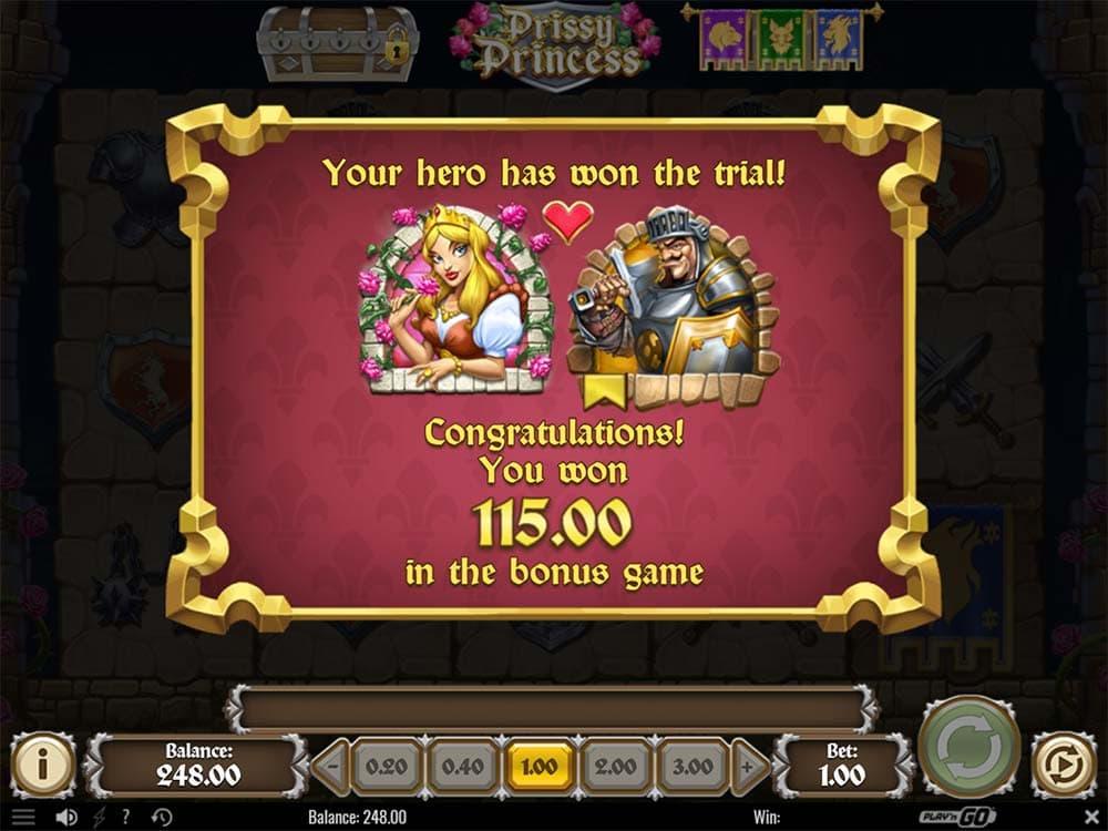 Prissy Princess Slot - Bonus Complete