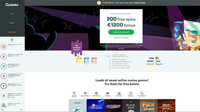 Casumo Casino Home Page