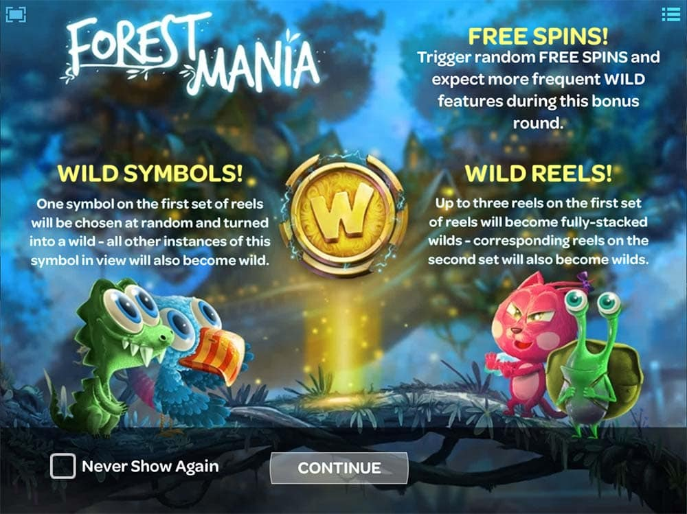 Forest Mania - Intro Screen