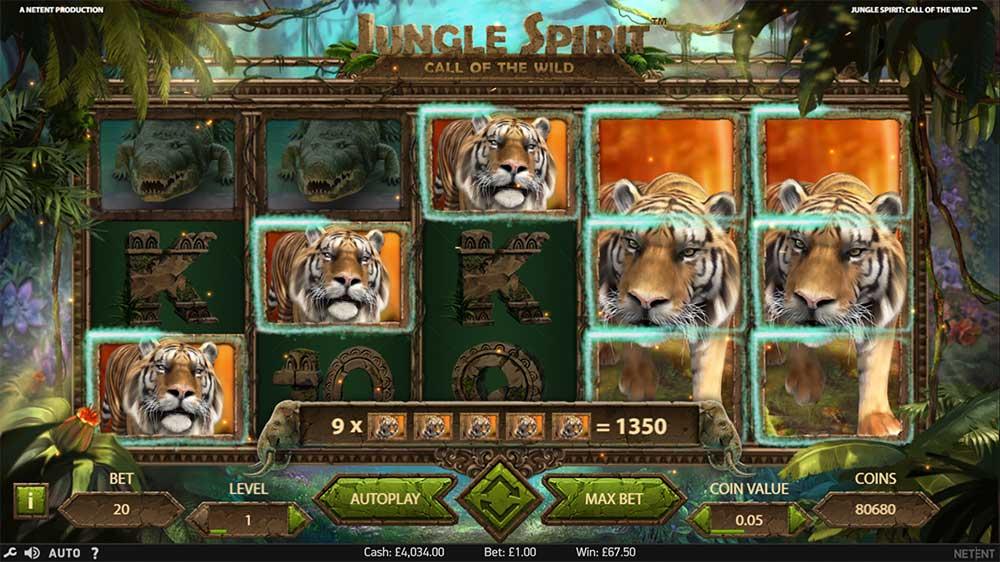 Jungle Spirit Slot - Stacked Tiger Symbols