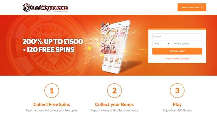 LeoVegas Casino Landing Page