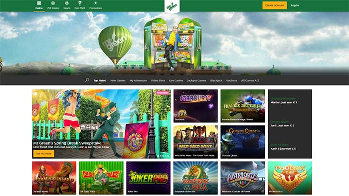 Mr Green Casino Landing Page