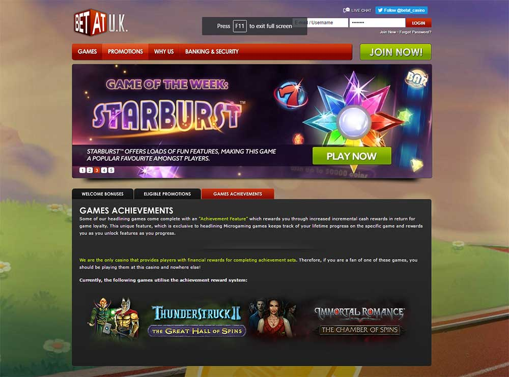 BetAt Casino Game Achievements