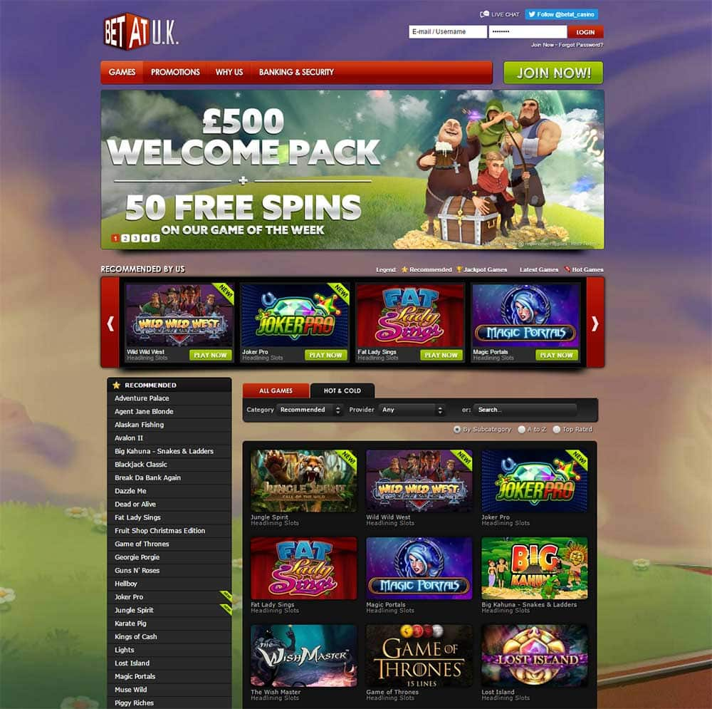 BetAt Casino Home Page 2017