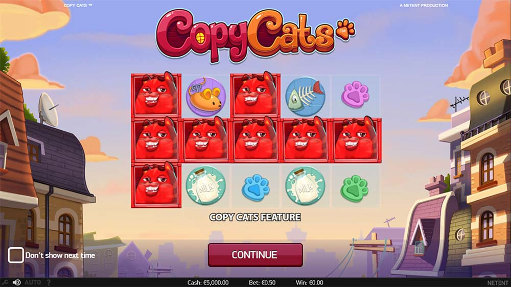 Copy Cats Slot - Intro Screen