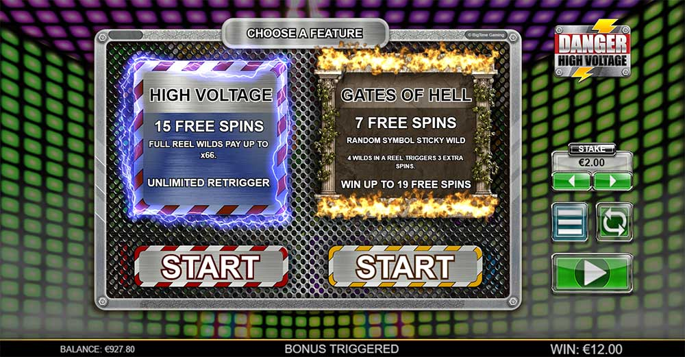 Danger High Voltage Slot - Free Spins Selection