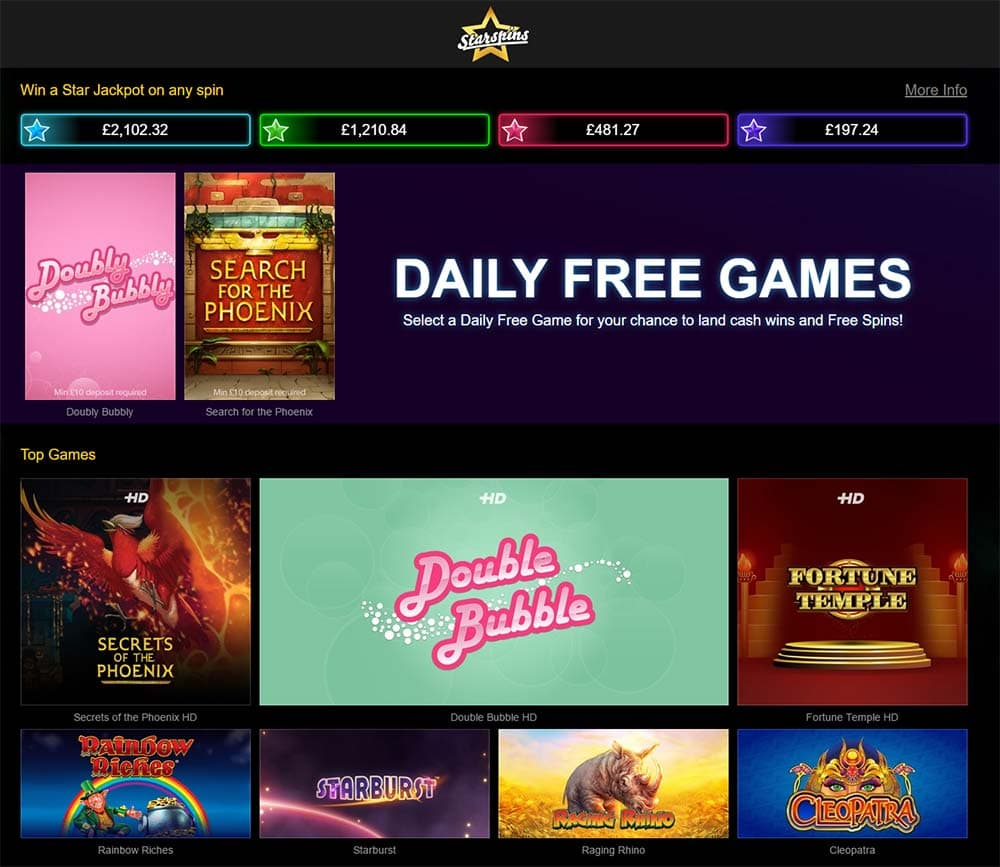 Starspins Casino - Home Page