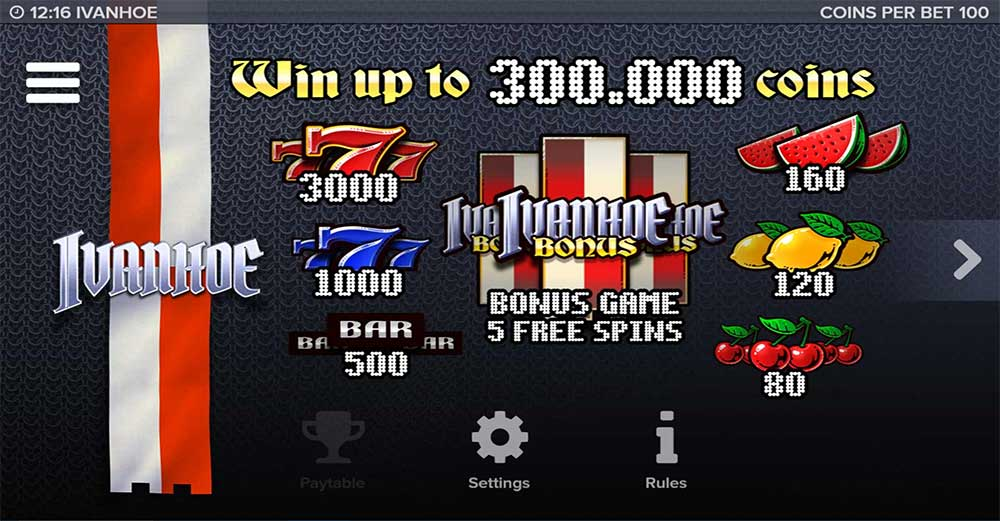 Ivanhoe Slot - Paytable