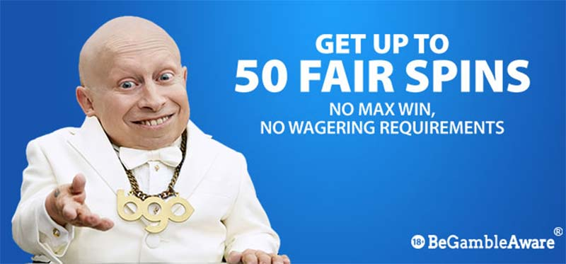 50 Fair Spins - No Wagering Requirements