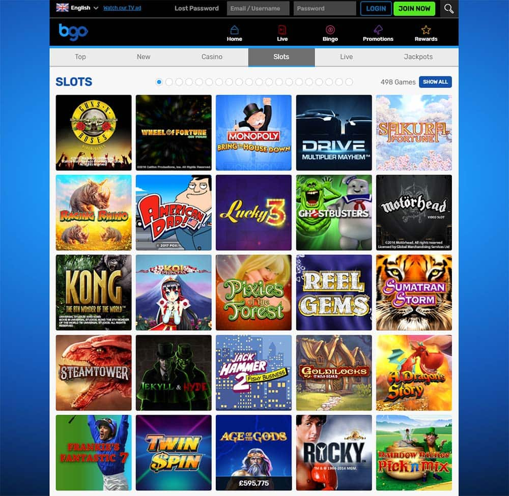 BGO Casino - Range of Slots