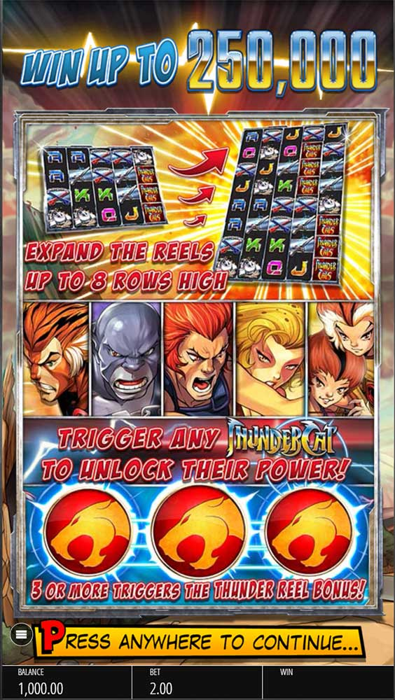 Thundercats Slot - Intro Screen