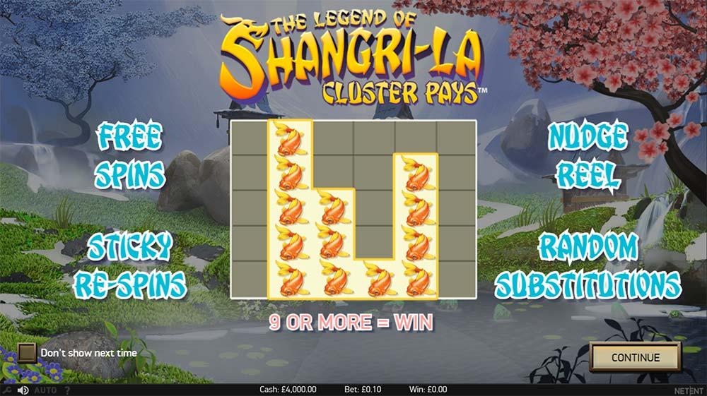 The Legend of Shangri La Slot - Intro Screen