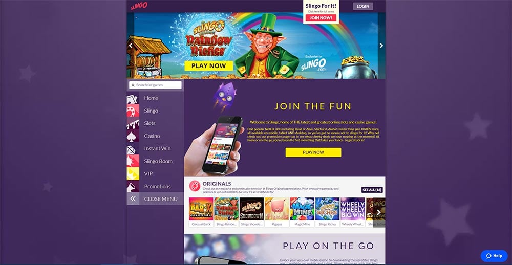 Slingo Casino - Home Page