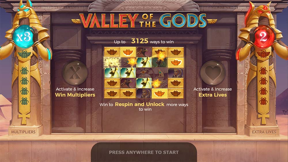 Valley Of The Gods Slot - Intro Screen