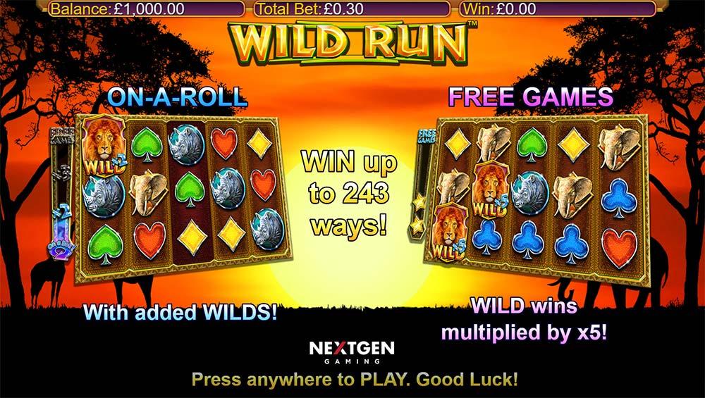 Wild Run Slot - Intro Screen