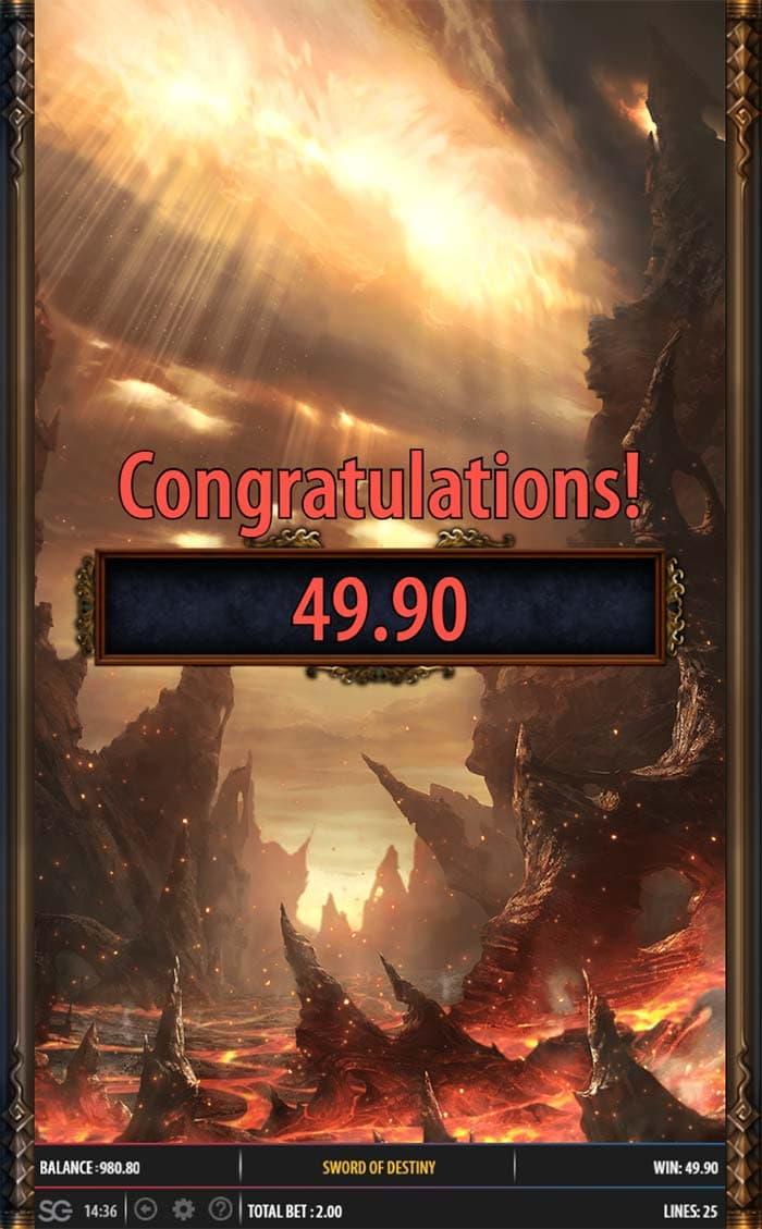 Sword of Destiny Slot - Bonus End
