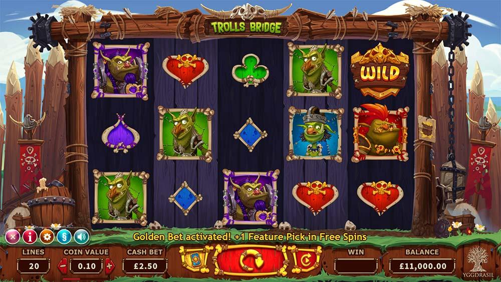 Trolls Bridge Slot - Base Game Golden Bet