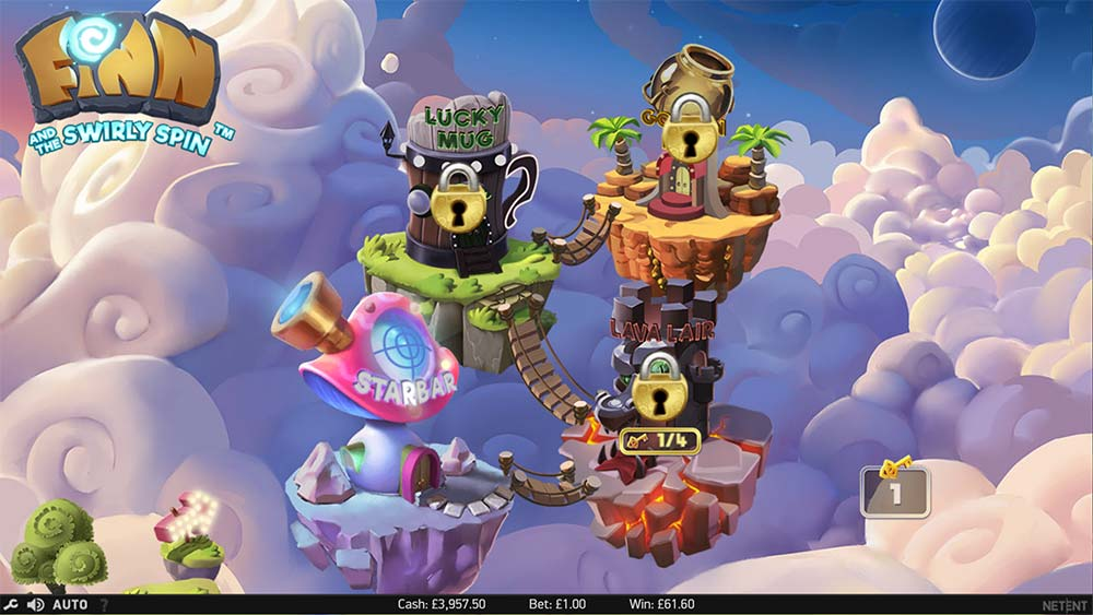 Finn and the Swirly Spin Slot - Free Spins Selection Screen