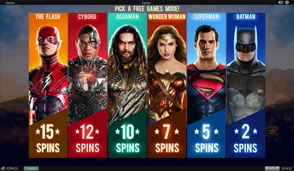 Justice League Slot - Free Spins Selection