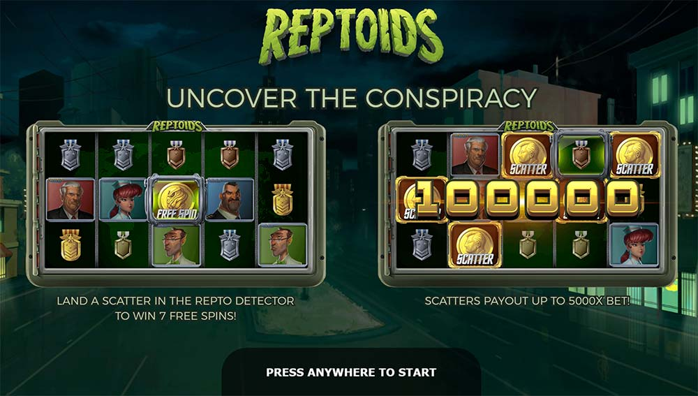 Reptoids Slot - Intro Screen