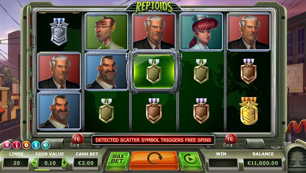 Reptoids Slot - Base Game