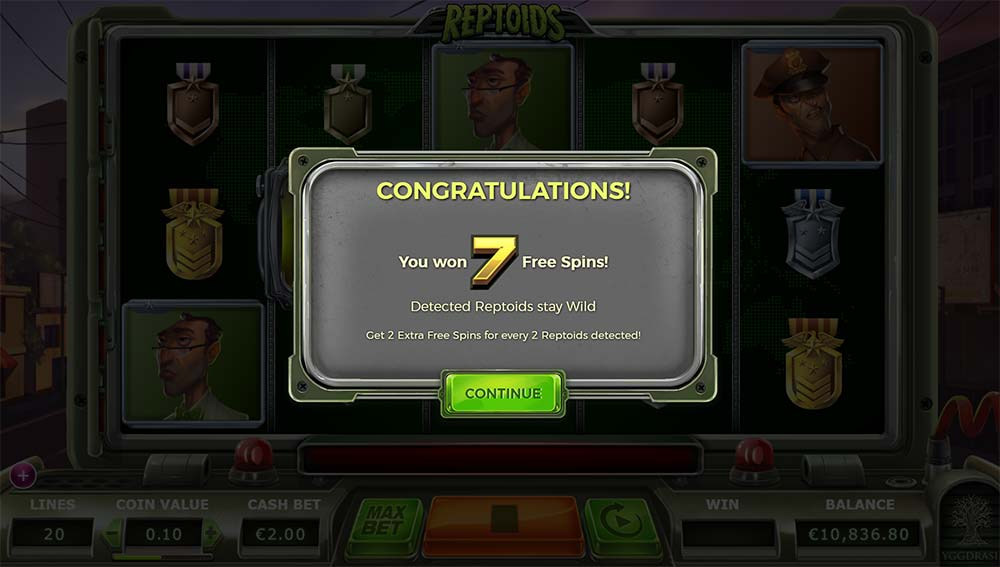 Reptoids Slot - Free Spins
