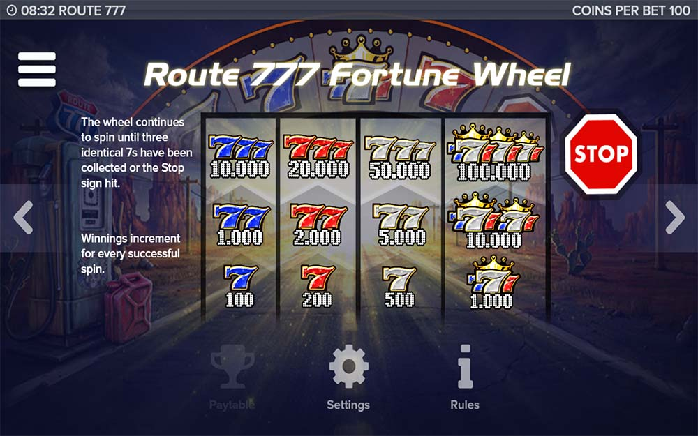 Route 777 Slot - Fortune Wheel Pays