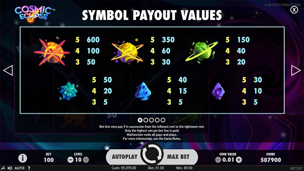 Cosmic Eclipse Slot - Paytable