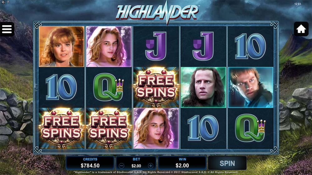 Highlander Slot - Free Spins Trigger