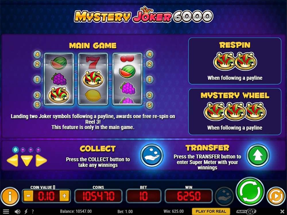 Mystery Joker 6000 - Paytable Slot Features