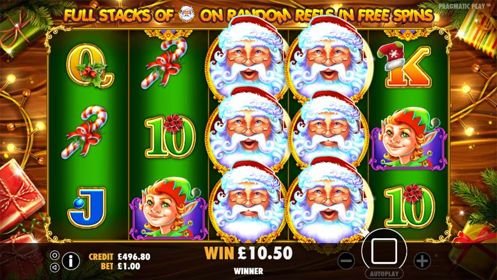 Santa Slot - Free Spins Round with Wild Reels