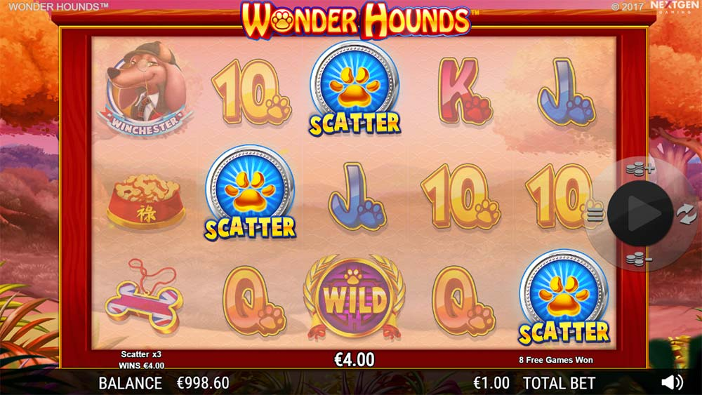 Wonder Hounds Slot - Scatter Bonus Trigger