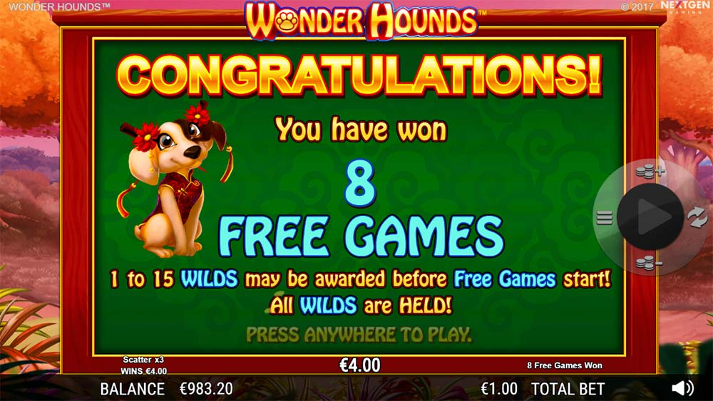 Wonder Hounds Slot - Free Spins Triggered