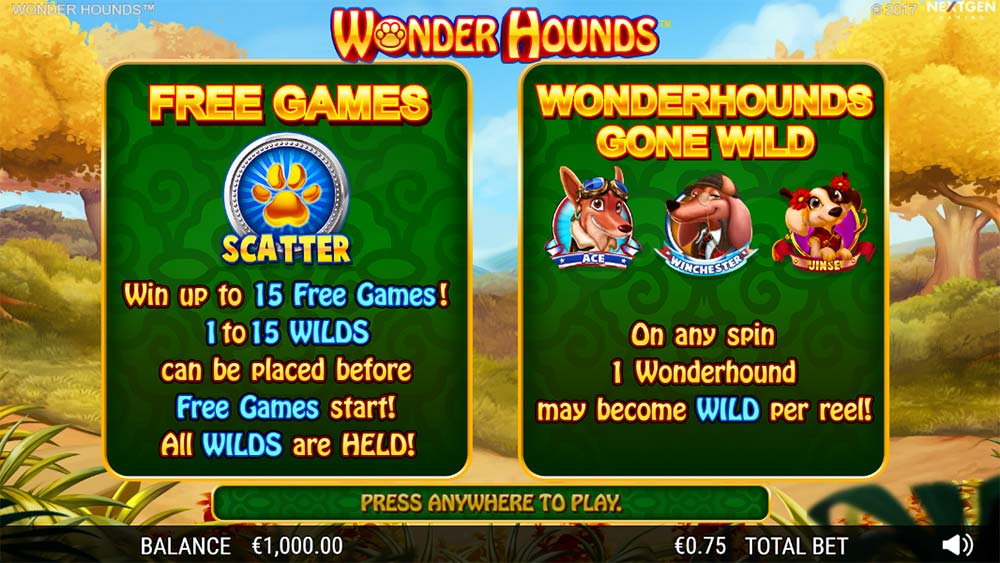 Wonder Hounds Slot - Intro Screen