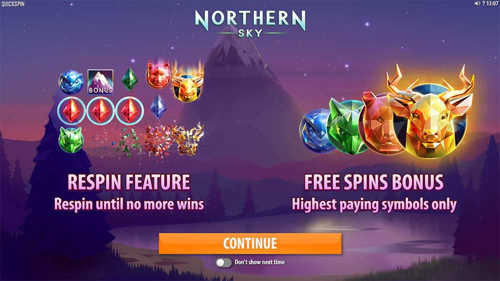 Northern Sky Slot - Intro Screen